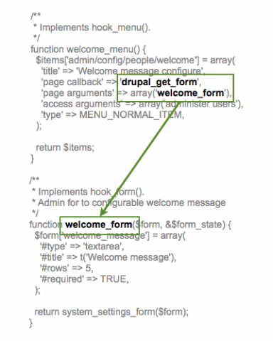 Drupal's hook menu maps to the callback function